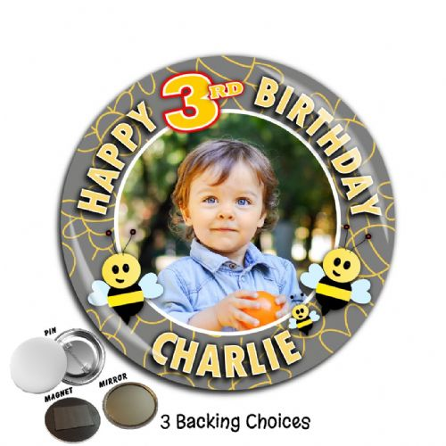 Large 75mm Personalised Bumble Bee Happy Birthday PHOTO Badge N64